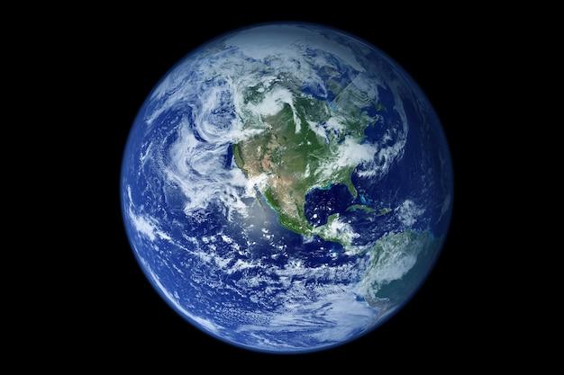 Planeta ziemia, na ciemnym tle. elementy tego obrazu dostarczyła nasa. zdjęcie wysokiej jakości