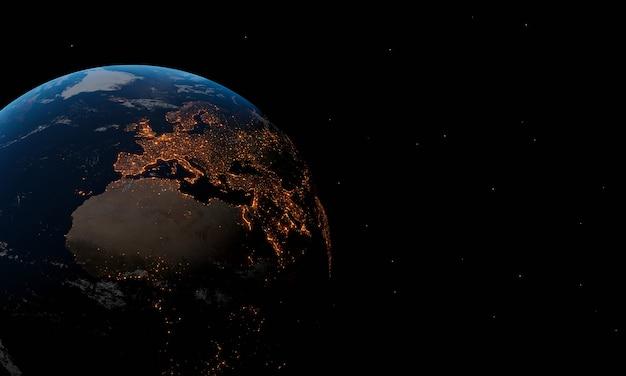 Planeta ziemia na czarnym tle