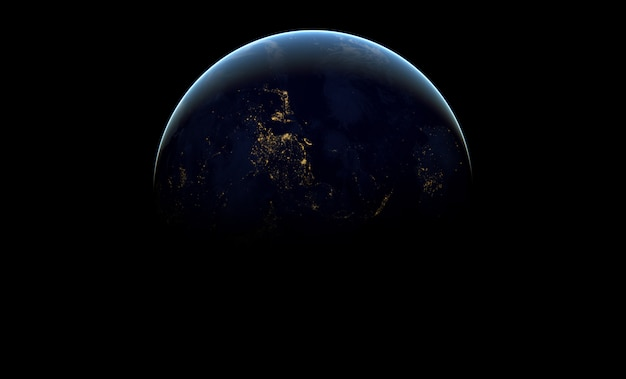 Planeta ziemia w ciemnej przestrzeni kosmicznej.