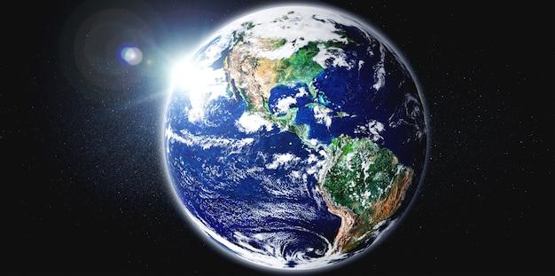 Planeta ziemia widok z kosmosu przedstawiający realistyczną powierzchnię ziemi i mapę świata