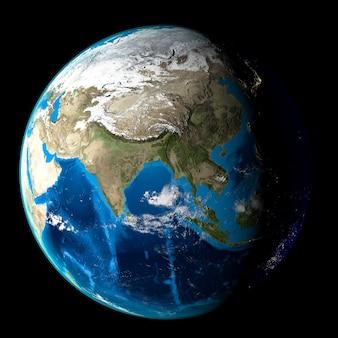 Planeta ziemia z chmurami, azja. czarne tło.