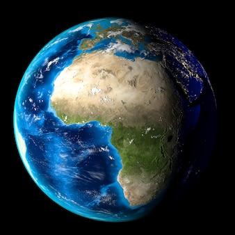 Planeta ziemia z chmurami, europą i afryką. czarne tło.