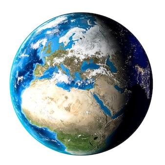 Planeta ziemia z chmurami, europą i afryką na białym tle.