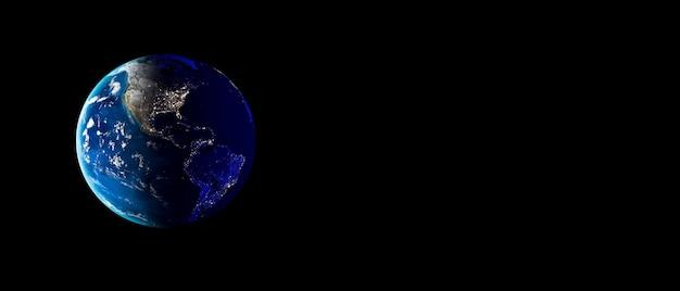Planeta ziemia z chmurami, europą i afryką. skopiuj miejsce