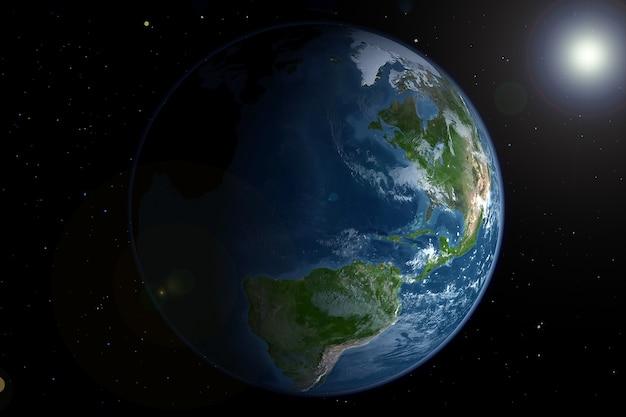 Planeta ziemia z kosmosu. elementy tego obrazu dostarczyła nasa. w dowolnym celu.