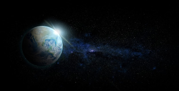 Planeta ziemia z wschodem słońca na tle przestrzeni. elementy tego obrazu dostarczone przez nasa.