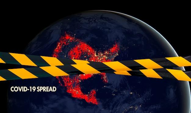 Planeta ziemia za czarno-żółtą linią, kwarantanna, pandemia covid-19, elementy tego obrazu dostarczone przez nasa