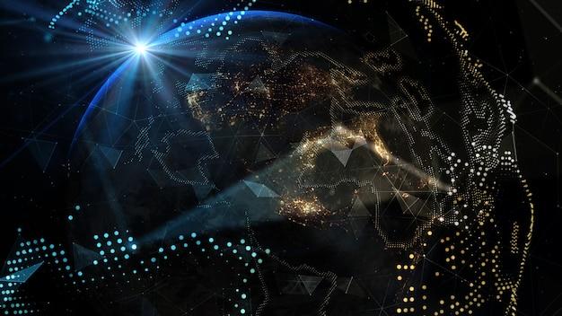 Planeta ziemia ze wschodem słońca elementy tego obrazu dostarczone przez nasa 3d illustration