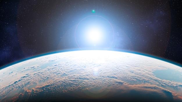 Planeta ziemia ze wschodem słońca w kosmosie - europa - elementy tego zdjęcia dostarczone przez nasa