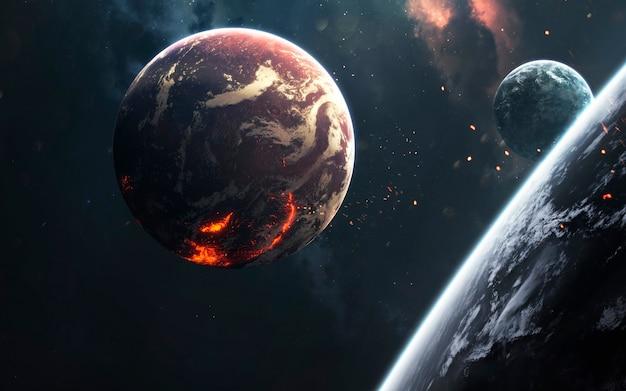 Planety kosmiczne, niesamowita tapeta science fiction, kosmiczny krajobraz. elementy tego zdjęcia dostarczone przez nasa