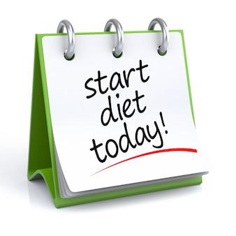Planowanie diety. ilustracja 3d kalendarza na białym tle/podłodze z ikoną.