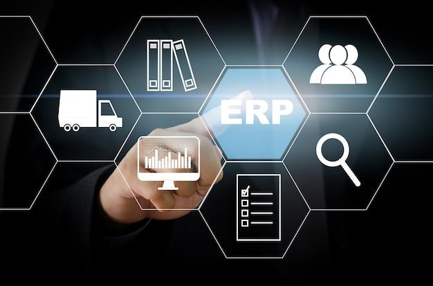 Planowanie zasobów przedsiębiorstwa (erp) planowanie zarządzania organizacją w celu efektywnego wykorzystania zasobów i uzyskania maksymalnych korzyści. ikony koncepcji zarządzania na wirtualnym ekranie.