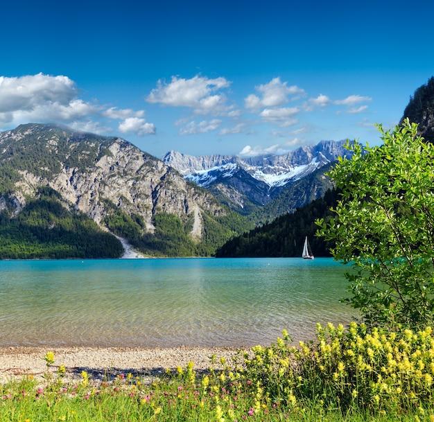 Plansee lato krajobraz ze śniegiem na zboczu góry i kwiat z przodu (austria).