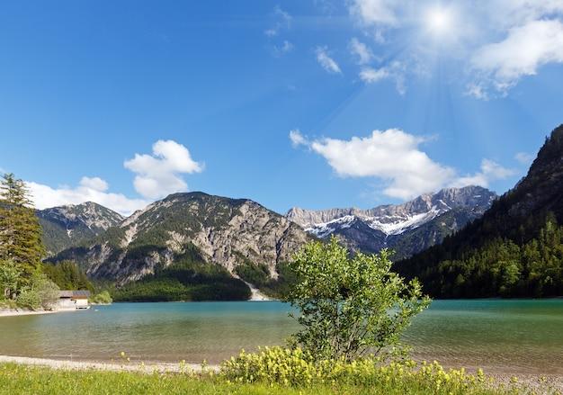 Plansee letni słoneczny krajobraz ze śniegiem na zboczu góry i kwiat z przodu (austria).