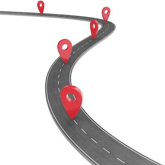 Plansza drogowa ze wskaźnikiem pin. koncepcja nawigacji ze wskaźnikiem pin. wskaźnik znacznika mapy na mapie drogowej. mapowanie kartograficzne. uliczna drogowa mapa dla biznesowego infographics projekta, 3d rendering