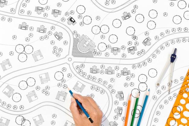Plany projektów krajobrazu dla ośrodka.
