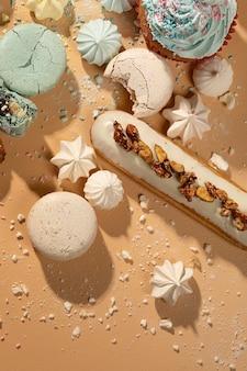 Płaska aranżacja pysznego deseru