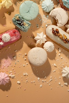 Płaska aranżacja smacznego deseru dessert