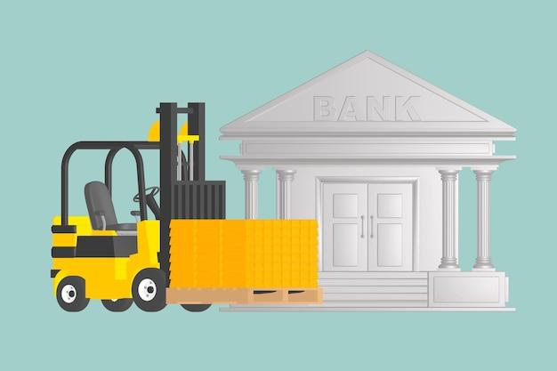 Płaska ilustracja koncepcyjna wózka widłowego ze złotymi prętami w pobliżu banku na zielonym tle