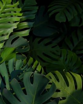 Płaska kompozycja 3d zielonych liści palmowych