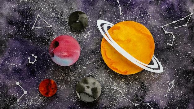 Płaska kompozycja kreatywnych planet papierowych