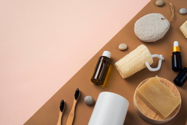Płaska kompozycja naturalnych produktów do samoopieki
