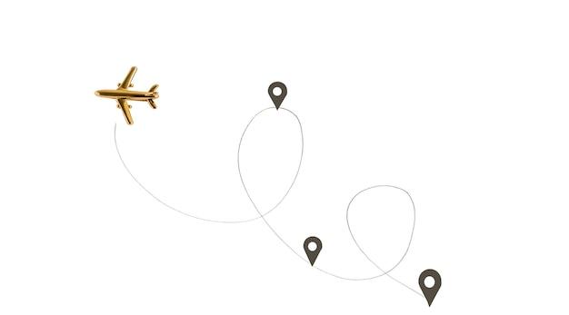 Płaska koncepcja punktów podróży, drogi i przystanków.