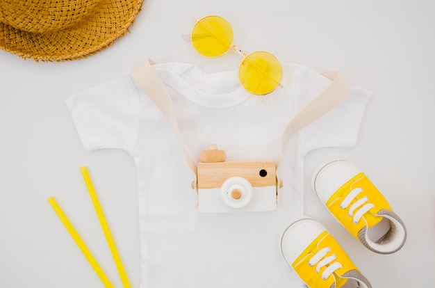 Płaska koszulka dziecięca z aparatem fotograficznym