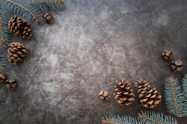 Płaska rama leżała z szyszek sosny i sztukaterie w tle