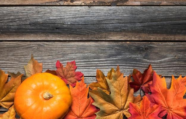 Płaska rama z kolorowymi liśćmi i dynią