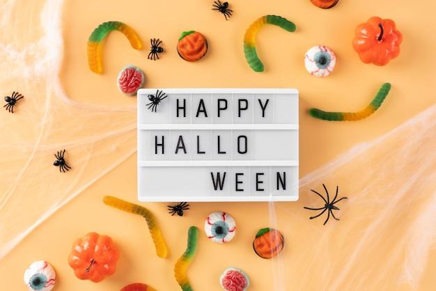 Płaska świecka kreatywna aranżacja halloween