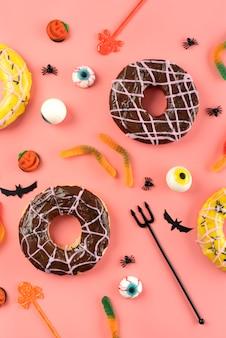 Płaska świecka kreatywna kompozycja halloween