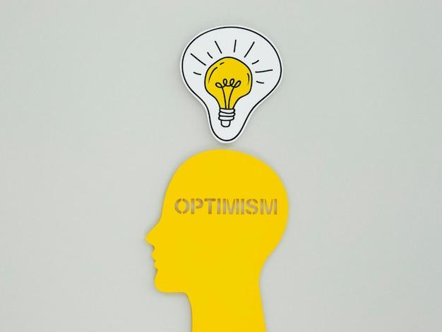 Płaski asortyment elementów koncepcji optymizmu