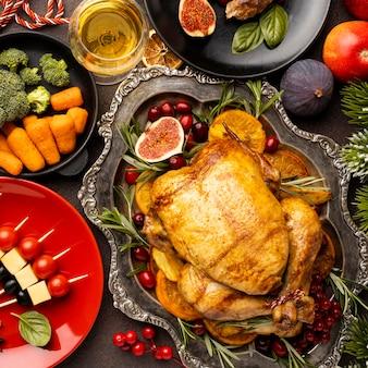 Płaski asortyment pysznych świątecznych potraw