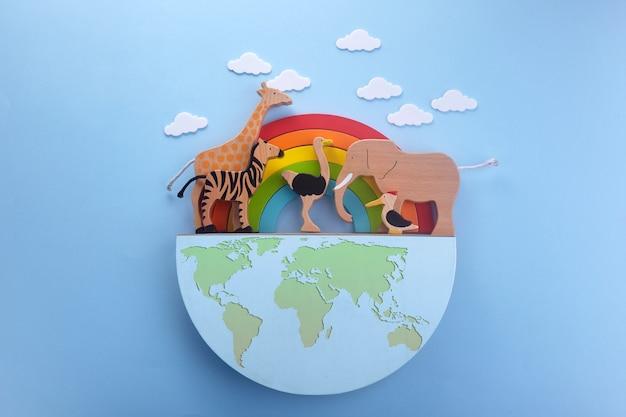 Płaski baner z zielonym dniem ziemi. koncepcja zielonej ekologii. zapisz koncepcję świata planety ziemi.