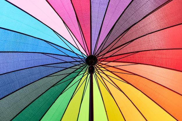 Płaski detal wielokolorowego parasola zajmującego całą przestrzeń