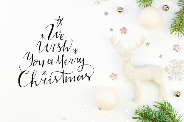 Płaski napis życzymy ci wesołych świąt znak tekstu