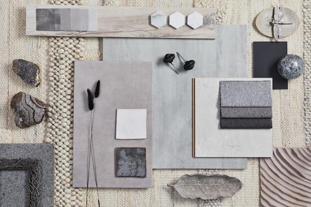 Płaski projekt kreatywnej kompozycji moodboardu architekta z próbkami budynków, beżowych materiałów tekstylnych i naturalnych oraz osobistych akcesoriów. widok z góry, szablon.