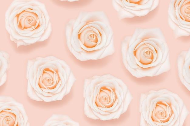 Płaski świecki kwiatowy wzór z różowych białych kwiatów róż w pastelowych kolorach