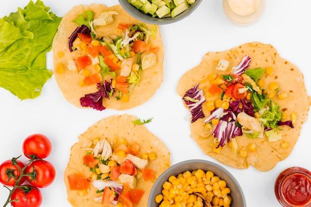 Płaski świecki meksykański skład żywności