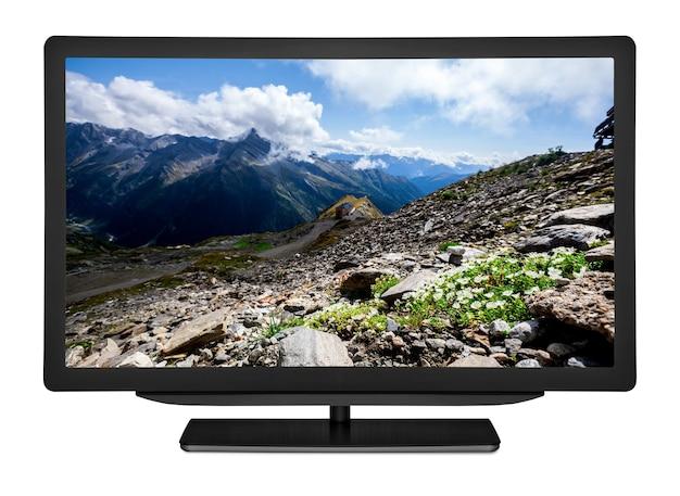 Płaski telewizor na białym tle. elementy tego obrazu dostarczone przez nasa