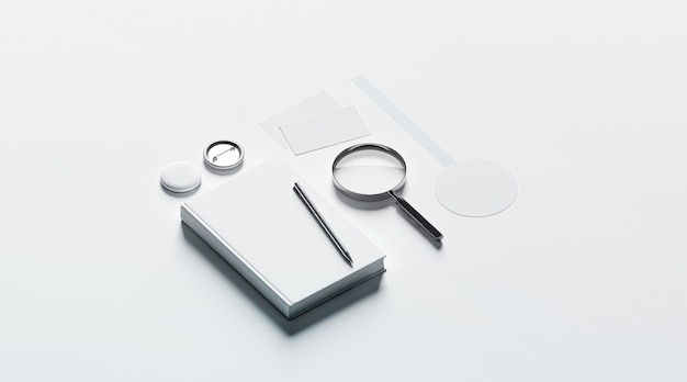 Płaski układ materiałów biurowych
