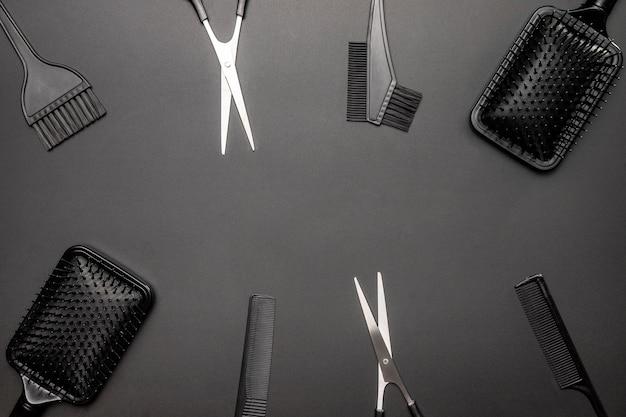 Płaski układ narzędzi fryzjerskich