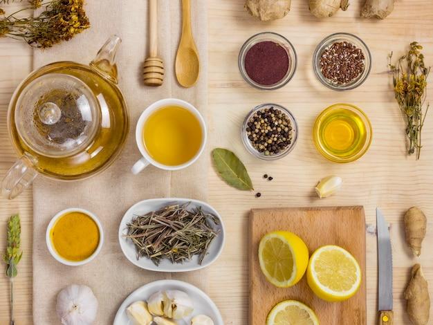 Płaski układ naturalnych ziół leczniczych