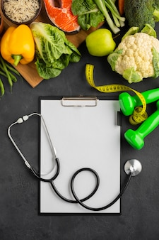 Płaski układ schowka i warzyw