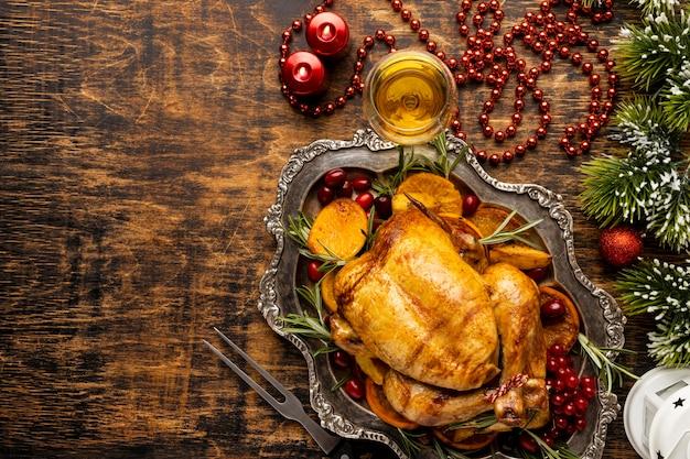 Płaski układ świąteczny posiłek z miejscem na kopię