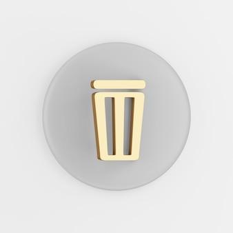 Płaski zarys złotej ikony kosza na śmieci. renderowanie 3d okrągły szary przycisk klucza, element interfejsu ui interfejsu użytkownika.