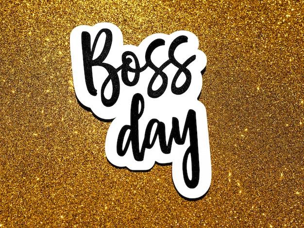 Płaski znak z brokatem dzień szefa
