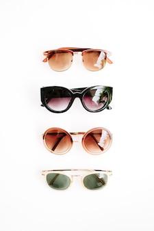 Płaskie, białe okulary przeciwsłoneczne z widokiem z góry
