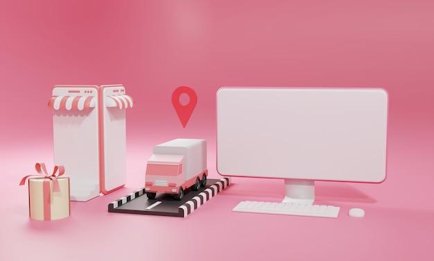 Płaskie ilustracja renderowania 3d sklep internetowy na aplikację mobilną i wysyłkę ciężarówek z komputera i smartfona. ilustracja premium